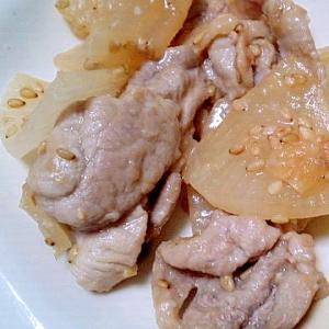 大根と豚バラのゴマ味噌炒め