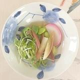 板蒲鉾、オクラ、枝豆、茗荷の和え物