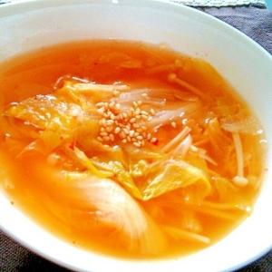 レタスたっぷ~り!さっぱりキムチスープ♡