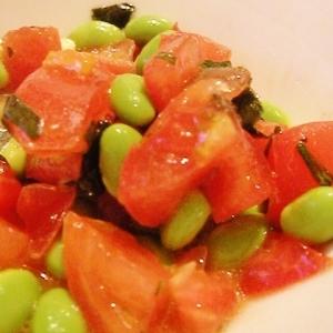 枝豆とトマトのバジリコサラダ
