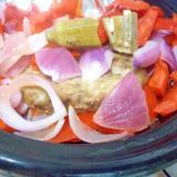 ハンバーグ赤パプリカおくら紫玉ねぎ蒸し