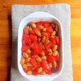パプリカと大豆のおかかケチャップ炒め