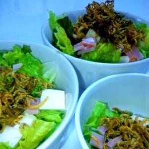 ちりめんのパリパリ豆腐サラダ