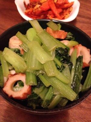 小松菜とちくわのめんつゆ炒め