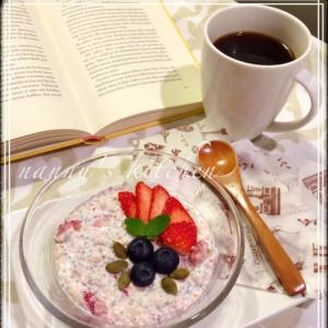 苺ショートケーキ風♪チアシードオーバーナイトオーツ