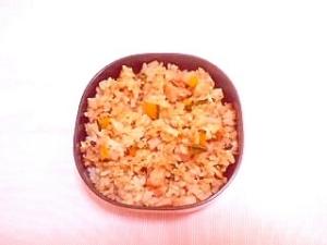紫蘇風味♪かぼちゃとソーセージのパラパラ炒飯お弁当