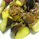 サツマイモと豚肉のハニーマスタード炒め