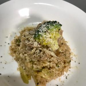 ブロッコリーと豚肉のリゾット