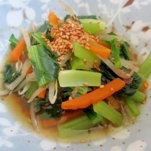小松菜ともやしとアミエビの煮浸し
