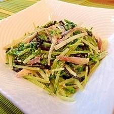 簡単☆水菜とミョウガの塩昆布マヨ和え