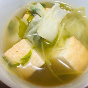 キャベツ*厚揚げ*水菜の鶏野菜スープ
