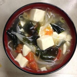 豆腐ともやしの中華スープ トマト入り