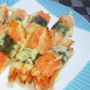 千切り人参の海苔巻き天ぷら