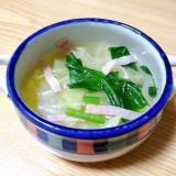 キャベツとほうれん草とベーコンのスープ