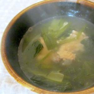 小松菜と手羽元のにんにくスープ