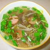 温まる♪もやしともずくのスープ