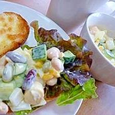 ビーンズサラダで♪カリカリチーズフランスパン