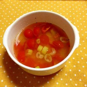 レンチンで簡単!トマトと長ネギのスープ♪