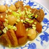 圧力鍋で豚バラ角煮+大根+うずらの卵煮