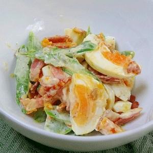 カリカリベーコンとアスパラの卵サラダ
