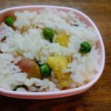 薩摩芋とグリーンピースの炊き込みご飯