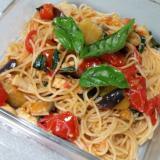 野菜タップリ!トマトとなすのバジルパスタ