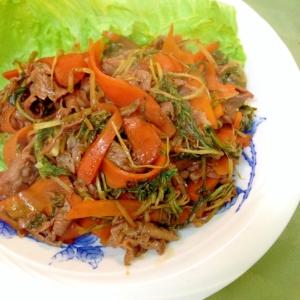 牛肉と水菜の辛味噌炒め煮