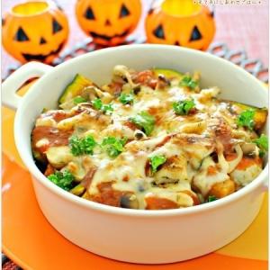 かぼちゃと塩麹鶏蒸し団子のミートチーズ焼き