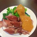 日本酒に!ホタルイカと菜の花の辛子酢味噌和え