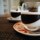 コーヒーゼリーとココナッツプリンのデザート