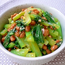 小松菜のピリ辛納豆和え