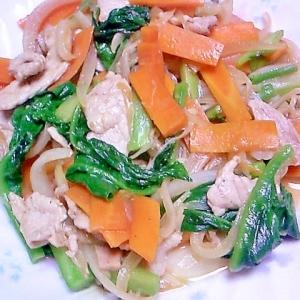 豚肉、野菜のにんにくしょうゆ炒め きざみわさび入り