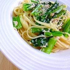 小松菜とツナのクリームパスタ