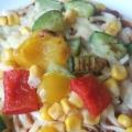 ツナと夏野菜のピザ風チヂミ(^ω^)