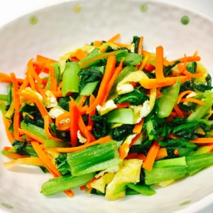 小松菜と人参と油揚げの炒め物