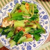簡単☆小松菜と卵の麺つゆ炒め