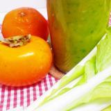 山東菜×みかん×柿のグリーンスムージー♪