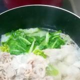 白菜と手羽先と豚薄切り肉の水炊き☆ポン酢風味