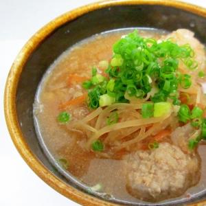 れんこん肉団子と根菜の味噌汁