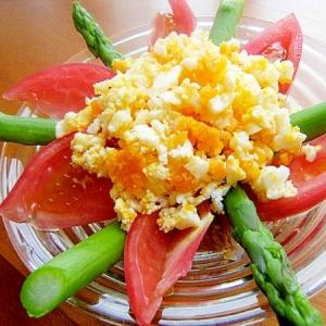 卵おろしツナサラダ♪(アスパラ&トマト&タマネギ)