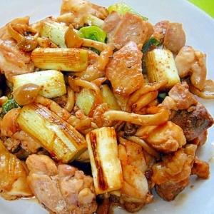 鶏と長ネギしめじの甘辛七味炒め