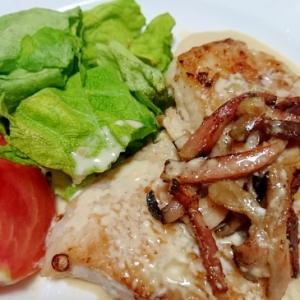 簡単!白身魚のソテー ~マヨ醤油のベーコンのせ~