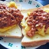 トマト納豆&スクランブルエッグのせトースト★