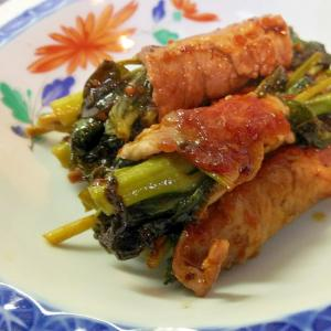 空心菜の豚肉ロール巻き