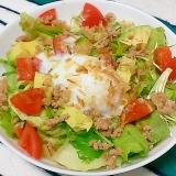 半熟卵と作りおきそぼろのカフェ風!9品目サラダ