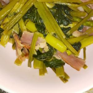 ゴマ油かおる・小松菜とベーコンの塩醤油炒め