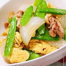 お弁当のおかず★鶏肉と絹サヤの中華炒め
