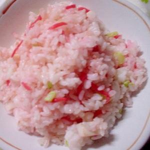 マヨ&ガラスープの素で❤板カマボコとネギ紅生姜炒飯