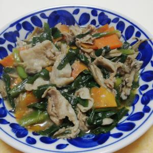 葉玉ねぎの葉と豚肉とまいたけの味噌煮