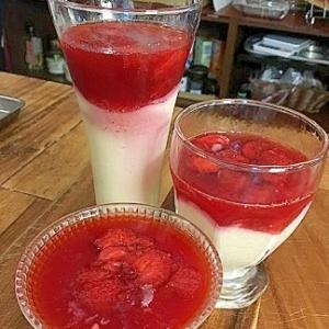 イチゴソースの豆乳プリン